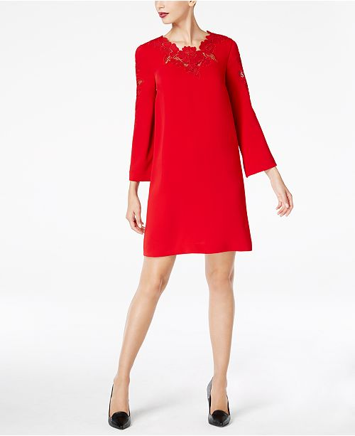 Alfani Petite Lace-Trim Bell-Sleeve Dress, Created for Macy's