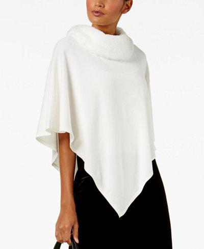 Alfani Petite Faux-Fur-Collar Poncho Sweater, Created for Macy's