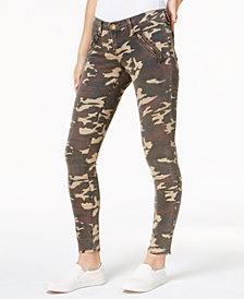 Kut from the Kloth Mia Camouflage-Print Toothpick Skinny Jeans