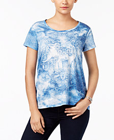 Style & Co Embellished Tie-Dyed T-Shirt, Created for Macy's