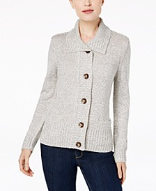 Plus Size Button-Front Marled Cardigan Sweater, Created For Macy's