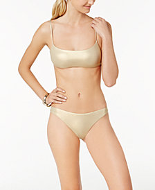 Trina Turk Golden Metallic Bralette Bikini Top & Hipster Bottoms