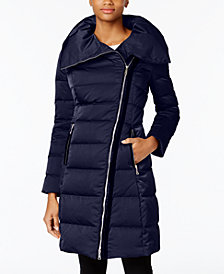 T Tahari Brooklyn Asymmetrical Pillow-Collar Puffer Coat