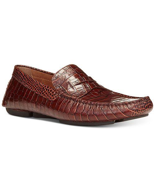 Donald Pliner Men's Vinco Croc-Embossed Penny Drivers Men's Shoes QxSsv
