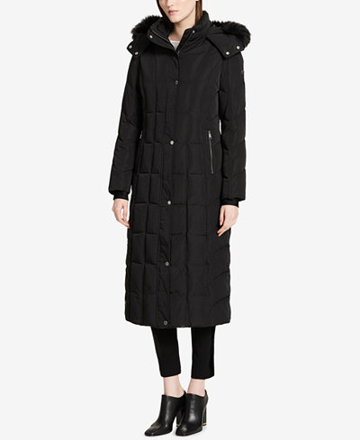 Calvin Klein Faux-Fur-Trimmed Hooded Maxi Puffer Coat
