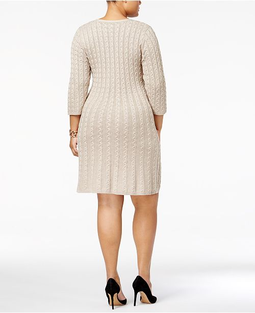 Jessica Howard Plus Size Cable-Knit Sweater Dress & Reviews ...