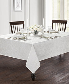 "Waterford Esmerelda White 90"" Round Tablecloth"