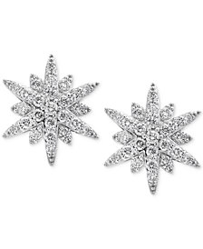 Pavé Classica by EFFY® Diamond Starburst Stud Earrings (1-1/3 ct. t.w.) in 14k White Gold