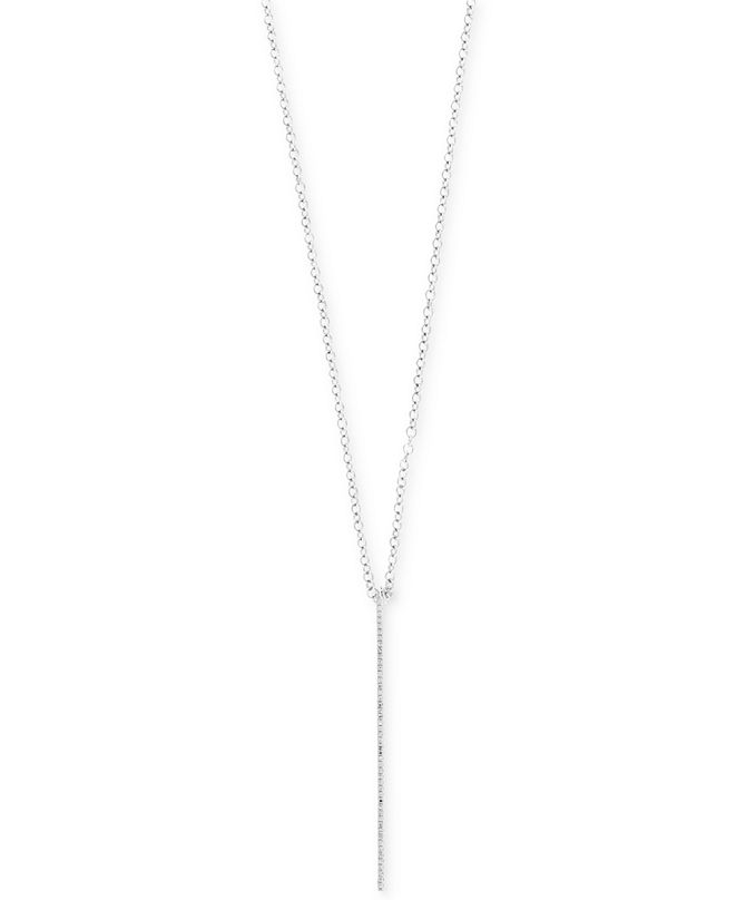 EFFY Collection Pavé Classica by EFFY® Diamond Bar Pendant Necklace (1/8 ct. t.w.) in 14k White Gold