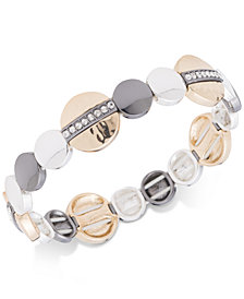 Nine West Tri-Tone Pavé Disc Stretch Bracelet