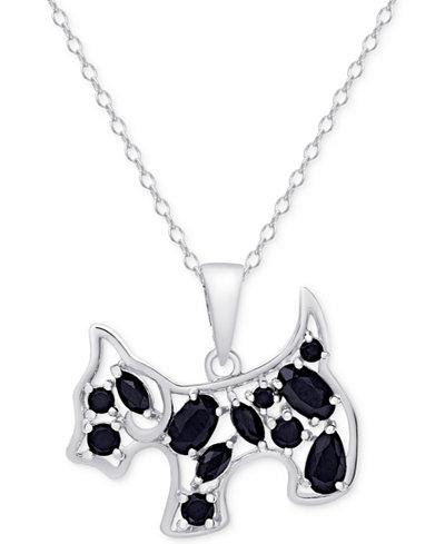 Black Spinel Dog Pendant Necklace in Sterling Silver