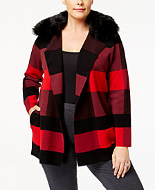 Belldini Plus Size Plaid Cardigan with Removable Faux-Fur Collar