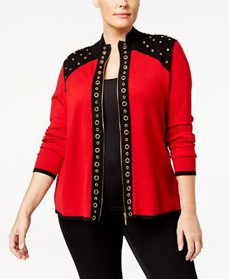 Belldini Plus Size Grommet Trimmed Zip Cardigan Sweaters Plus