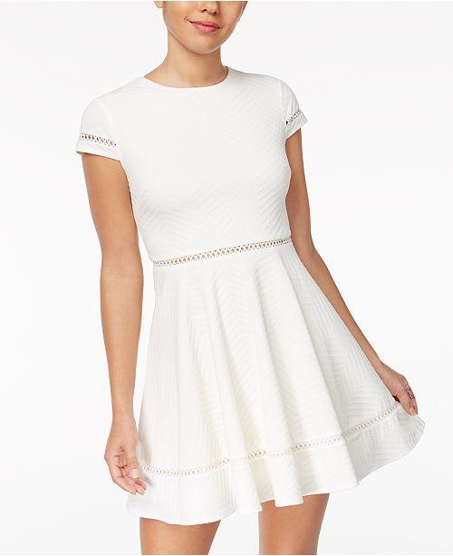 55e97681c City Studios Juniors' Textured Fit & Flare Dress & Reviews - Dresses ...