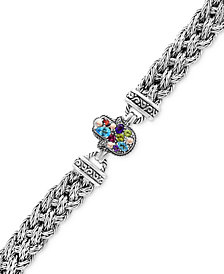 Balissima by EFFY® Multi-Gemstone (1-1/3 ct. t.w.) Hamsa Hand Bracelet in Sterling Silver