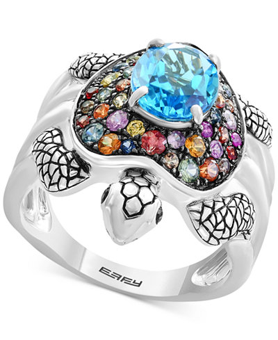 Balissima by EFFY® Multi-Gemstone Turtle Ring (3-3/8 ct. t.w.) in Sterling Silver