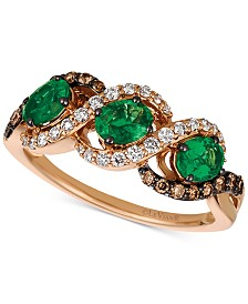 Le Vian Chocolatier® Costa Smeralda Emerald™ (3/4 ct. t.w.) & Diamond (3/8 ct. t.w.) Ring in 14k Gold