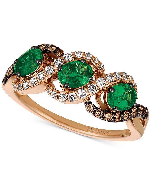 Le Vian Chocolatier® Costa Smeralda Emerald™ (3/4 ct. t.w.) & Diamond (3/8 ct. t.w.) Ring in 14k Gold