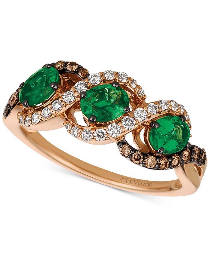 Le Vian - Costa Smeralda Emerald™ (3/4 ct. t.w.) & Diamond (3/8 ct. t.w.) Ring in 14k Gold