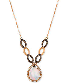 Le Vian Chocolatier® Neopolitan Opal™ (2-1/3 ct. t.w.) and Diamond (5/8 ct. t.w.) Statement Necklace in 14k Rose Gold