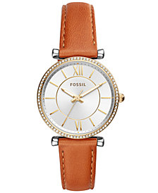 Fossil Women's Carlie Luggage Leather Strap Watch 35mm