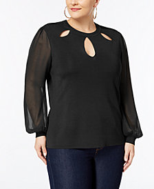I.N.C. Plus Size Bishop-Sleeve Cutout Sweater, Created for Macy's
