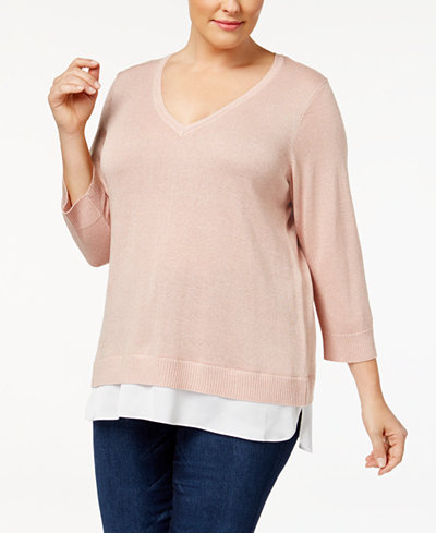Calvin Klein Plus Size Metallic-Knit Layered Top
