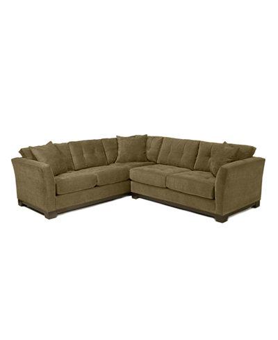 Elliot fabric microfiber 2 piece sectional sofa for Clarke fabric sectional sofa 2 piece