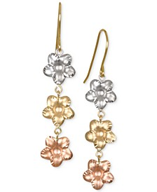 Tri-Color Flower Drop Earrings in 10k Gold, White Gold & Rose Gold