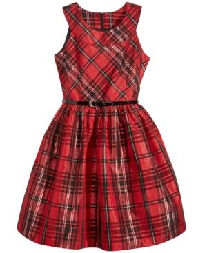 Bonnie Jean Metallic Plaid Fit  Flare Dress Big Girls (716)