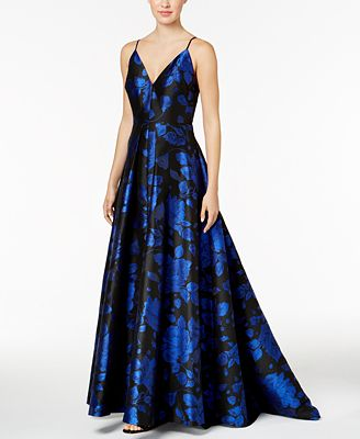 Calvin Klein V-Neck Floral-Print Gown
