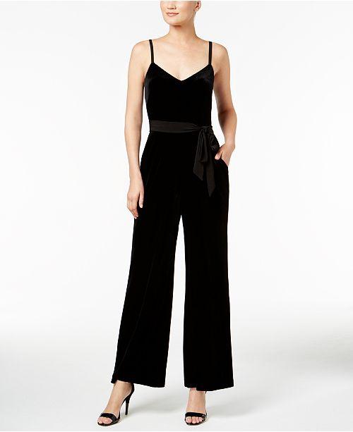 Calvin Klein Velvet Sash-Belt Jumpsuit