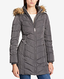 Tommy Hilfiger Faux Fur Trim Hooded Chevron Puffer Coat
