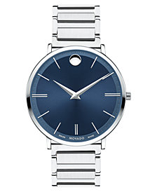 Movado Men's Swiss Ultra Slim Stainless Steel Bracelet Watch 40mm