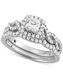 Macy's Star Signature Diamond™ Princess Cut Halo Bridal Set (1-1/4 ct. t.w.) in 14k White Gold