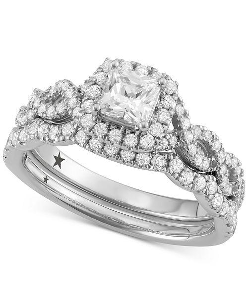 Macy's Star Signature Diamond Princess Cut Halo Bridal Set (1-1/4 ct. t.w.) in 14k White Gold