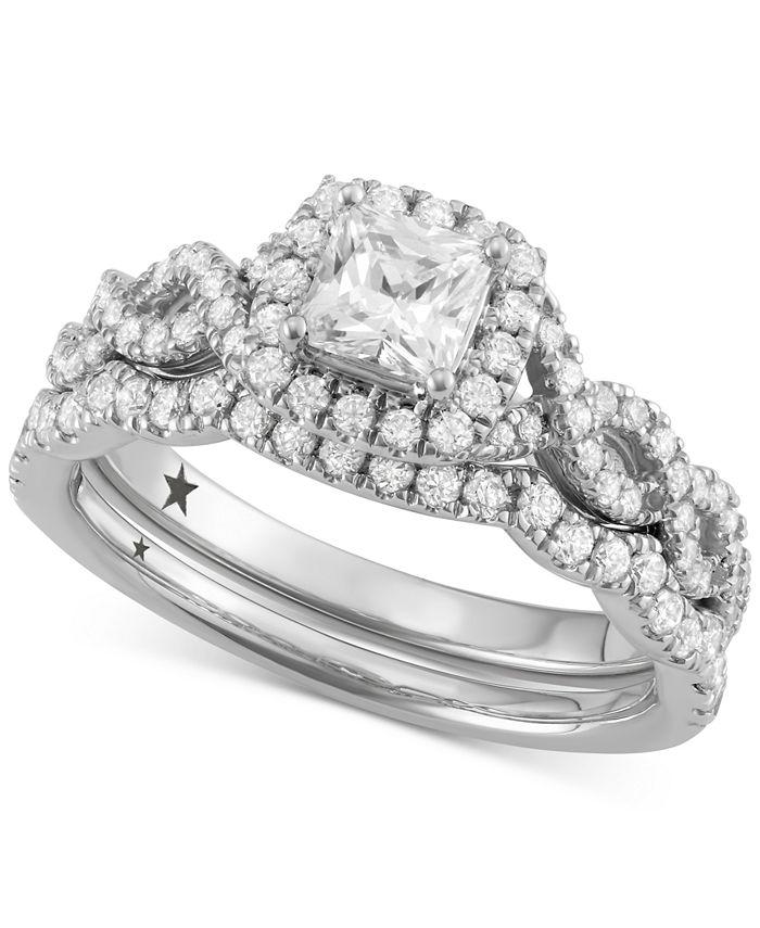 Macy's Star Signature Diamond - ™ Halo Bridal Set (1-1/4 ct. t.w.) in 14k White Gold