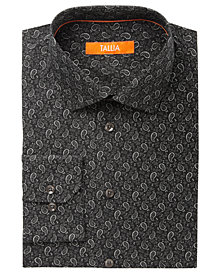 Tallia Men's Fitted Black Paisley-Mini Floral Dress Shirt