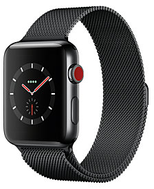 Apple Watch Series 3 (GPS + Cellular),  42mm Space Black Stainless Steel Case with Space Black Milanese Loop
