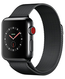 Apple Watch Series 3 (GPS + Cellular),  38mm Space Black Stainless Steel Case with Space Black Milanese Loop