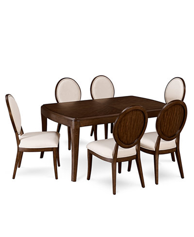 Delfina Dining Furniture, 7-Pc. Set (Expandable Leg Dining Table & 6 Side Chairs), Created for Macy's