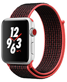 Apple Watch Nike+ (GPS + Cellular),  42mm Silver Aluminum Case with Bright Crimson/Black Nike Sport Loop