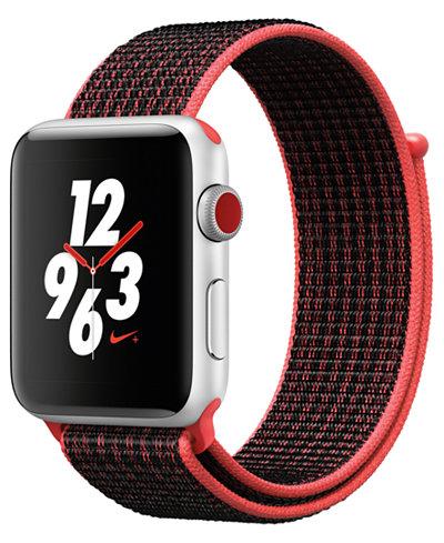 Apple Watch Nike+ (GPS + Cellular), 42mm Silver Aluminum Case with Bright Crimson/Black Nike Sport Loop