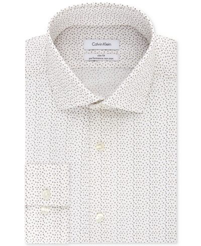 Calvin Klein STEEL Men's Slim-Fit Non-Iron Performance Stretch Pebble Print Dress Shirt