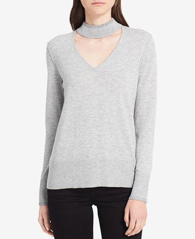 Calvin Klein Jeans Metallic-Trim Choker Sweater