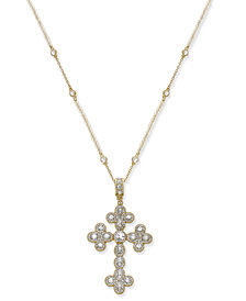 Joan Boyce Gold-Tone Crystal Cross Pendant Necklace