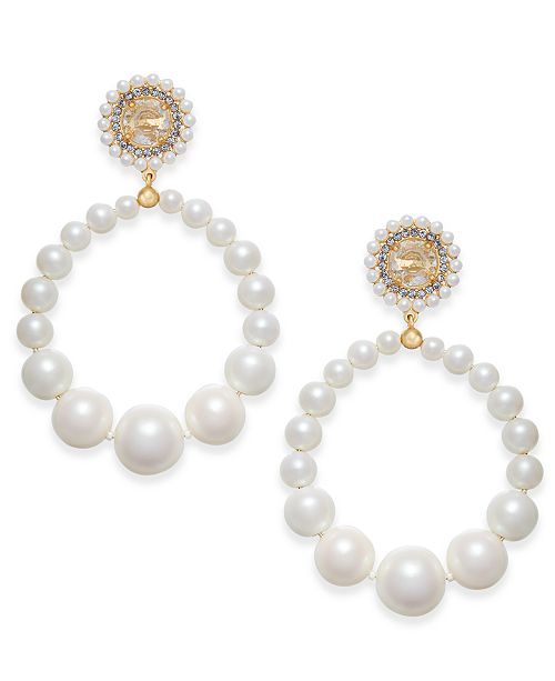 a939e3bf0 ... kate spade new york Gold-Tone Imitation Pearl Drop Hoop Earrings ...