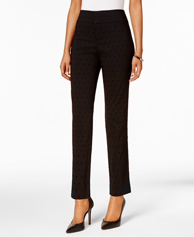 Charter Club Petite Flocked-Dot Cambridge Tummy Control Pants, Created for Macy's