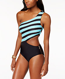 MICHAEL Michael Kors Striped One-Shoulder Cutout One-Piece Swimsuit