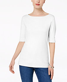Karen Scott Petite Cotton Cuffed Boat-Neck Top, Created for Macy's